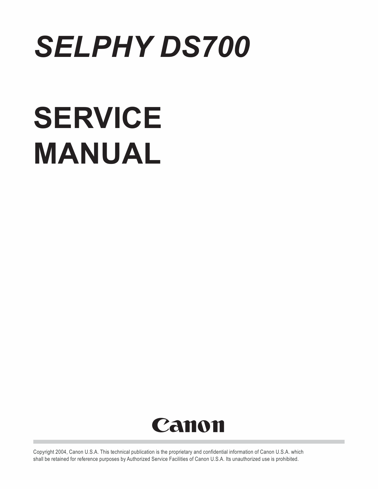 Canon SELPHY DS700 Service and Parts Manual-1
